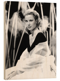 Wood print  Grace Kelly with a tulle shawl