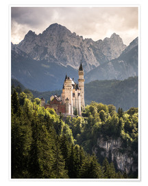 Premium poster  Neuschwanstein Castle in front of the Alps - Andreas Wonisch