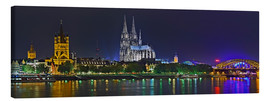 Canvas print  Cologne skyline at night - FineArt Panorama