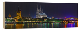 Wood print  Cologne skyline at night - FineArt Panorama