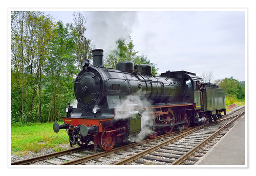 Premium poster Old Steam Locomotive in the Black Forest