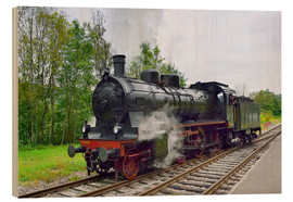 Wood print  Old Steam Locomotive in the Black Forest - FineArt Panorama