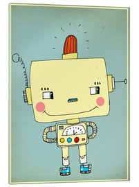 Acrylic print  Robbie robot in love - Little Miss Arty