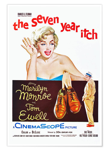 Premium poster THE SEVEN YEAR ITCH, Marilyn Monroe, Tom Ewell