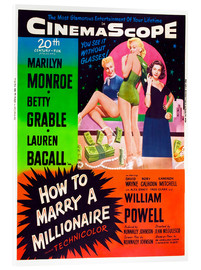 Acrylic print  HOW TO MARRY A MILLIONAIRE, Betty Grable, Marilyn Monroe, Lauren Bacall
