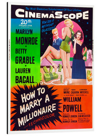 Aluminium print  HOW TO MARRY A MILLIONAIRE, Betty Grable, Marilyn Monroe, Lauren Bacall