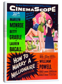 Canvas print  HOW TO MARRY A MILLIONAIRE, Betty Grable, Marilyn Monroe, Lauren Bacall
