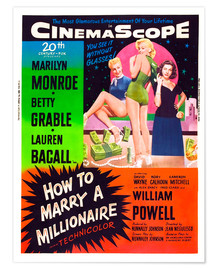 Premium poster  HOW TO MARRY A MILLIONAIRE, Betty Grable, Marilyn Monroe, Lauren Bacall