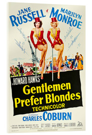 Acrylic glass  GENTLEMEN PREFER BLONDES, Jane Russell, Marilyn Monroe