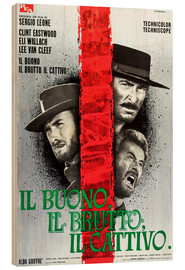 Wood print  THE GOOD, THE BAD AND THE UGLY, (IL BUONO, IL BRUTTO, IL CATTIVO), Clint Eastwood, Lee Van cleef, El