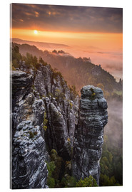 Acrylic print  Sunrise in the Saxon Switzerland at the so called Hellhound - Andreas Wonisch