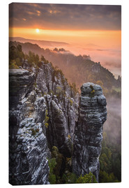 Canvas  Sunrise in the Saxon Switzerland at the so called Hellhound - Andreas Wonisch