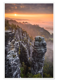 Premium poster  Sunrise in the Saxon Switzerland at the so called Hellhound - Andreas Wonisch