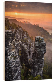 Wood print  Sunrise in the Saxon Switzerland at the so called Hellhound - Andreas Wonisch