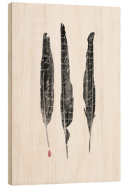 Wood print  The author's feathers - Sybille Sterk