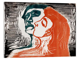 Acrylic print  Man and woman is kissing - Edvard Munch