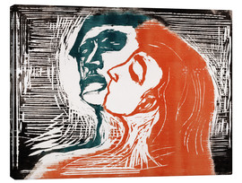 Canvas  Man and woman is kissing - Edvard Munch