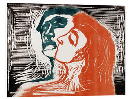 Foam board print  Man and woman is kissing - Edvard Munch