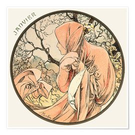 Poster  Les Mois - January - Alfons Mucha