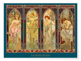 Premium poster  Les heures du jour, nuit collage (French) - Alfons Mucha