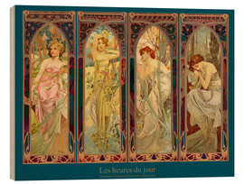 Wood  Les heures du jour, nuit collage (French) - Alfons Mucha