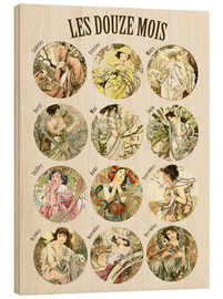Wood  Les Douze Mois - 12 months of the year - Alfons Mucha