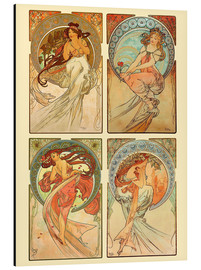 Aluminium print  The four arts, collage - Alfons Mucha