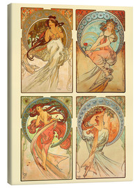 Canvas print  The four arts, collage - Alfons Mucha