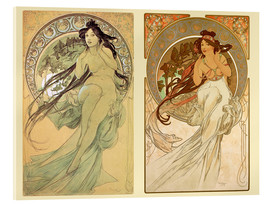 Acrylic glass  The Four Arts, collage II - Alfons Mucha