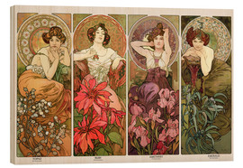 Wood print  The precious stones - Alfons Mucha
