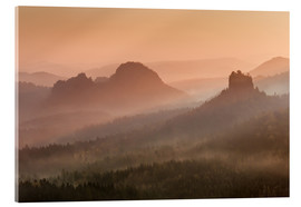 Acrylic print  Sunrise in the Saxon Switzerland - Andreas Wonisch