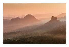 Premium poster  Sunrise in the Saxon Switzerland - Andreas Wonisch