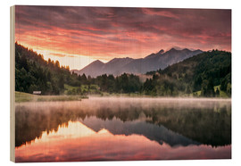 Wood print  Sunrise in the Alps - Andreas Wonisch