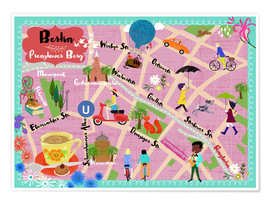 Premium poster Colorful city map Berlin Prenzlauer Berg