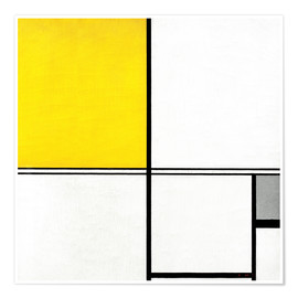 Premium poster  Double Line and Yellow - Piet Mondriaan