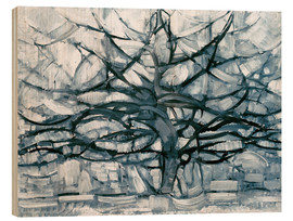 Wood print  Gray tree - Piet Mondriaan
