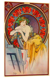 Acrylic print  Woman with drawings - Alfons Mucha