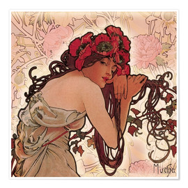 Poster  Peonies - Alfons Mucha