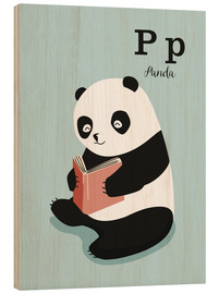 Wood print  The animal alphabet - P like Panda - Sandy Lohß