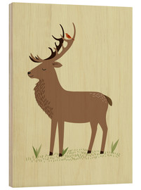 Wood print  Deer - Sandy Lohß