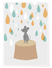 Premium poster Mouse in the colorful rain