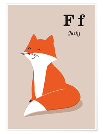Premium poster The animal alphabet - F like fox
