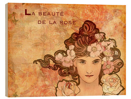 Wood print  Rose, Collage - Alfons Mucha