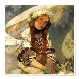 Premium poster  Madonna of the Lilies, Detail - Alfons Mucha