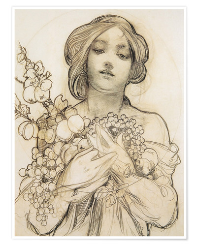 Premium poster Study of The woman with flowers