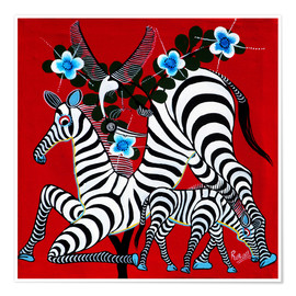 Premium poster  Zebras in the Wild - Rubuni