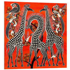 Foam board print  Black giraffe in savannah - Rubuni