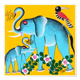 Premium poster Elephants in the care