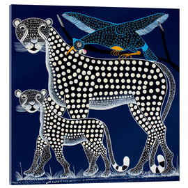 Acrylic glass  Black Panther in the savanna - Rubuni
