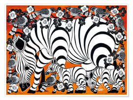 Premium poster Zebra mother with baby